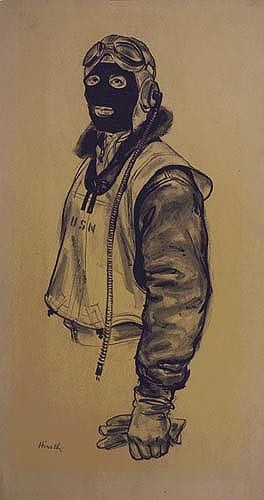 """Pilot in Blackface."" Joseph Hirsch. The Navy pilot, if unprotected from icy blasts while on cold-weather patrol, might suffer serious frostbite. To prevent facial freezing and maintain efficiency of aircrews, wind masks are provided. Aerial observation and scouting requires sharp observation, and sometimes it is necessary for the airman to open ports or push aside the cockpit enclosure for unimpeded vision. Joseph Hirsch. US Navy Art Collection."