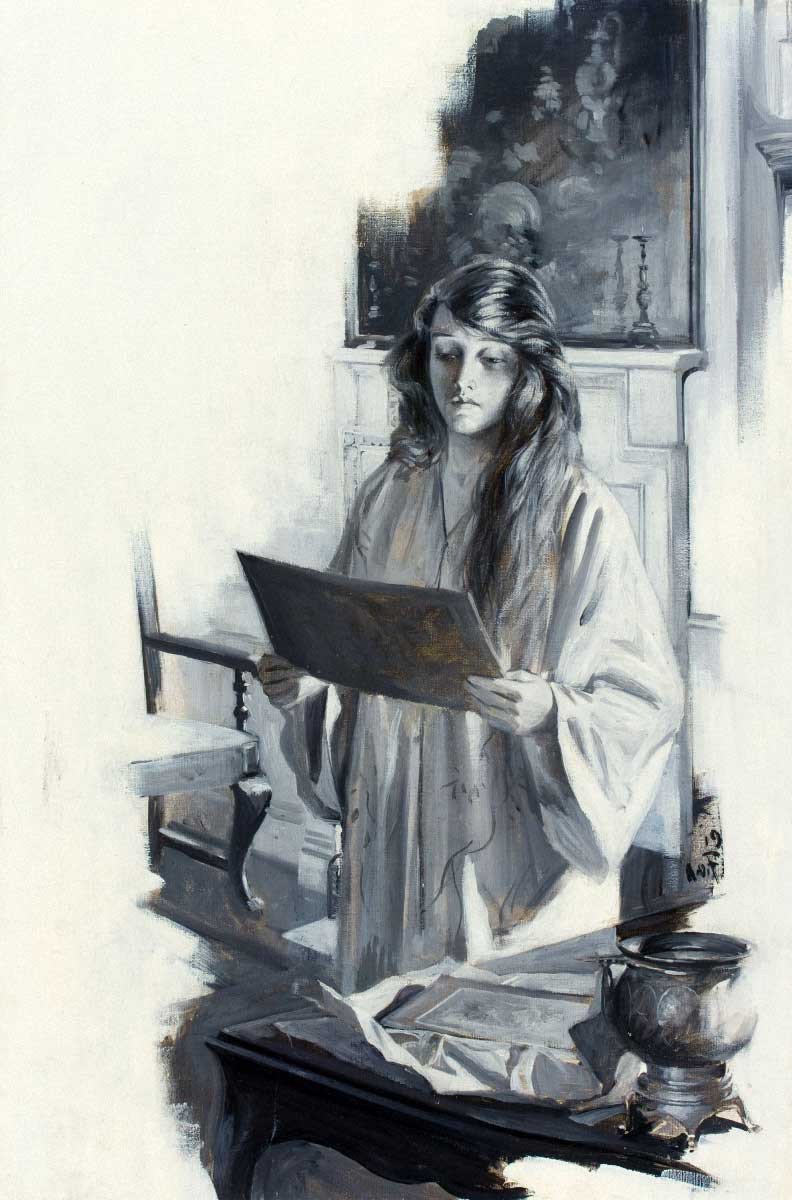 Viewing an Illustration, 1919. Such detail...