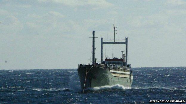 Ezadeen under tow my Icelandic Coast Guard in the Med