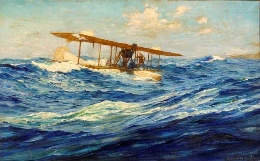 Seaplane down at sea