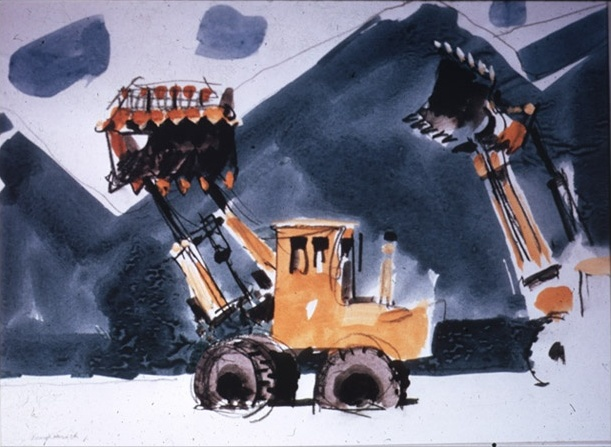 """Construction at Soldier Creek"" by Joseph Hirsch. Watercolor, 10 1/2"" x 13 1/2"" For the USBR.Showing Construction activities at Soldier Creek Dam, Bonneville Unit, Central Utah Project, Utah. http://www.usbr.gov"