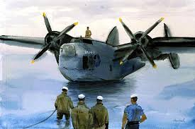 """Back From Patrol"" Joseph Hirsch. Watercolor, circa, 1943. Gift of Abbott Laboratories 88-159-FH.  A Navy PBM, the Martin Mariner, rides with idle engines off its ramp waiting to be hauled out. Already the beaching crew, clad in summer suits, is wading out to attach lines and beaching gear. An officer of the bomber crew has climbed through a hatch and stands on the starboard wing roof to observe operations. US Navy Art Collection."