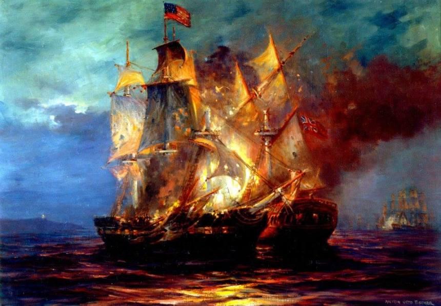 John Paul Jone's Bonhomme Richard vs HMS Serapis, 23 September 1779. Artwork of Anton Otto. Fischer. From the US Navy Art Collection