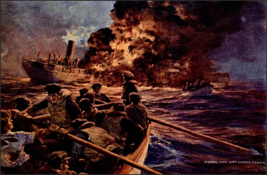 Burning Tanker of the North Atlantic, Feb 1943. Fischer saw this first hand from the Campbell.