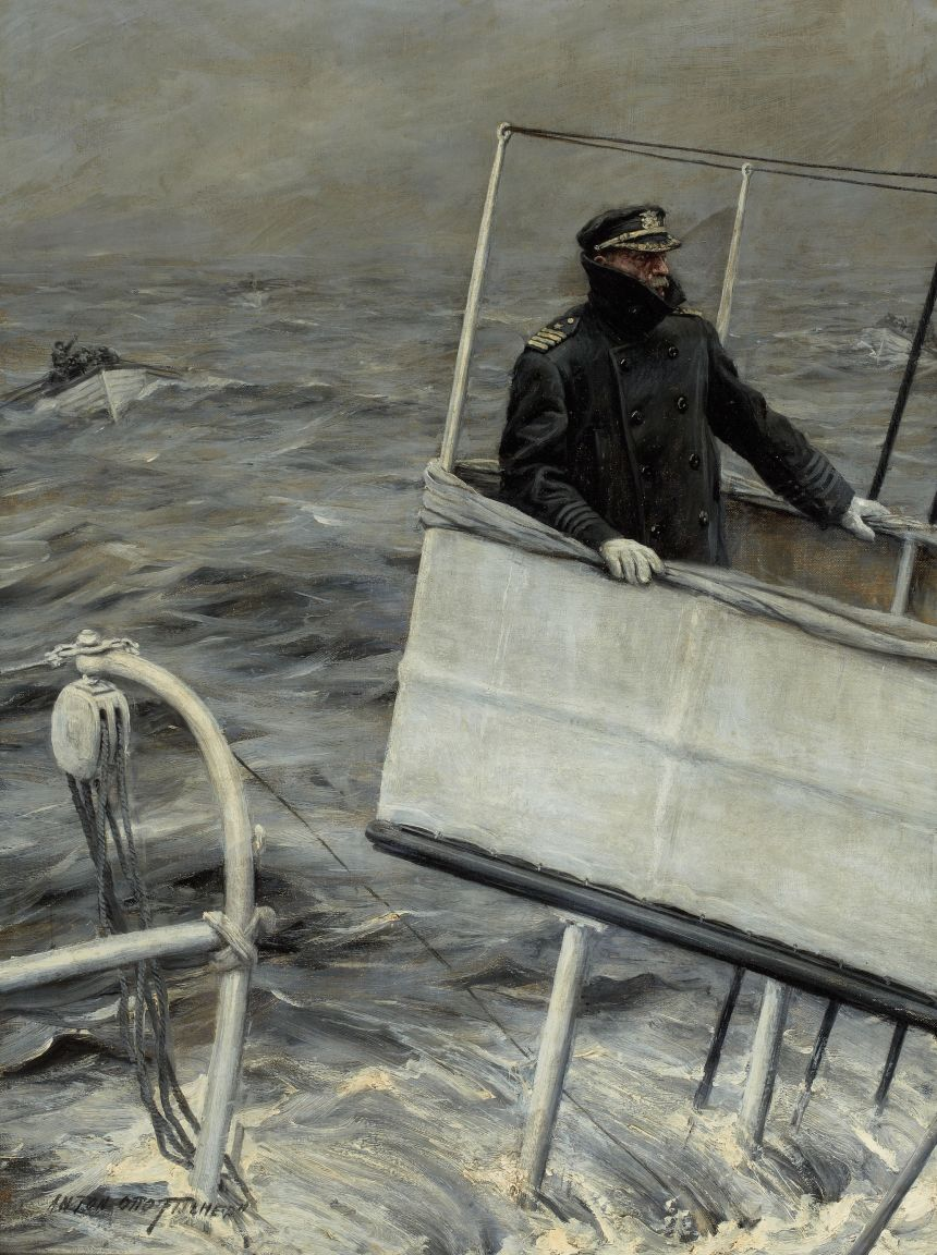 Captain At Sea, Anton Otto Fischer. Click to big up to appreciate the skipper's joy and misery.
