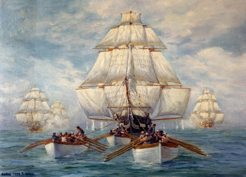 Chase of the CONSTITUTION, July 1812 Painting by Anton Otto Fischer, depicting the boats of U.S. Frigate CONSTITUTION towing her in a calm, while she was being pursued by a squadron of British warships, 18 July 1812. NHHC Photo NH 85542-KN - See more at: http://www.navyhistory.org/2012/05/new-video-series-on-the-war-of-1812/#sthash.4bezdSre.dpuf