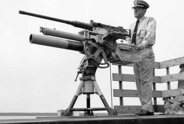 Chief Warrant Gunner Elmer L. HICKS, USCG and his 81mm/ M2 piggyback combo