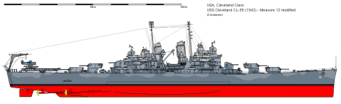 As commissioned, WWII, Image by Ship Bucket http://www.shipbucket.com/images.php?dir=Real%20Designs/United%20States%20of%20America/CL-55%20Cleveland%201942.png