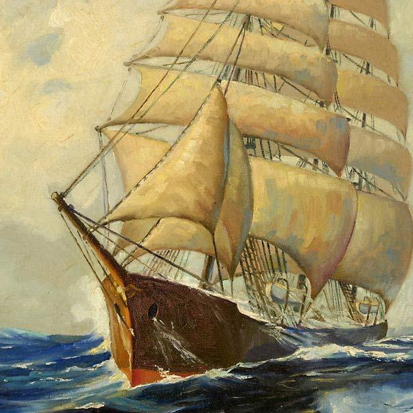 Clipper Ship at Sea. Oil on canvas, circa 1950. One of FIscher's last works, done in his late 60s. By then he was just painting what he wanted and you can see an old man's thoughts of a young man's sailing years at the turn of the Century.