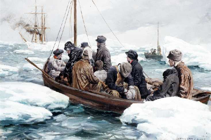 """""""Crew of the Revenue Cutter Bear ferrying stranded whalemen,"""" By Anton Otto Fischer. From the USCG Collection"""