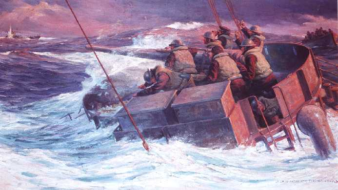 """""""Fight to the Last oil""""on canvas by Anton Otto Fisher, Coast Guard Artist, USCG collection"""