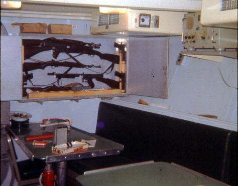 Gun locker in the galley of the Point White in Vietnam. A lot of tasty vittles there!