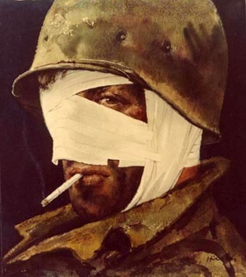 """High Visability Wrap,"" Joseph Hirsch. A wounded soldier in Italy 1944. US Army Collection."