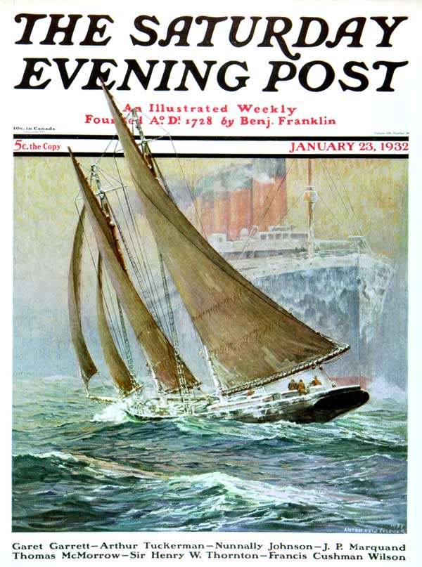 Saturday Evening Post cover by Fischer. In all he did over 400 illustrations for the magazine