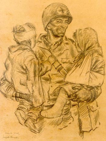 """Safe"" Joseph Hirsch. Showing A Medical Corpsman comforting two orphans. Cassino, Italy, 1944"