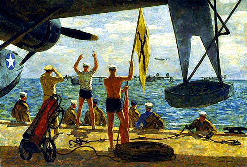 """Making the Buoy"" Joseph Hirsch oil on canvas, circa, 1943. Gift of Abbott Laboratories. 88-159-EX. Back from hours in the air on patrol, a flight of four-engine patrol bombers settle to the water and maneuver up to the beaching buoys preparatory to beaching. To weary, hungry pilots and crew, the signals of the beaching crew are a welcome sight. After making their planes fast to the buoys, handling wheels and lines will be attached to the plane's hull and it will be towed up to the ramp. The beaching crew, clad in swimming trunks, waits until time to wade down the ramp to attach beaching gear.US Navy Art Collection"