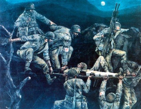 """Night Shift"" Italy 1944. Of this painting Hirsch said, ""A lot of the things which look medically wonderful on paper, so far as supplies can, didn't cover all the exigencies of actual combat. For example, there is no way in which our Medical Department Supply Service can see to it that a wounded boy on a stretcher is carried down a horribly precipitous rock-not even dirt-at night time."" US Army Collection."