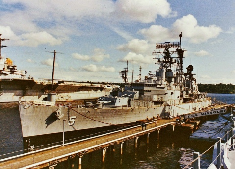 She spent 1979-99 in layup on red lead row. It was speculated by the Lehman-Reagan Navy of the 1980s of reactivating her for a third tour but funds were never allocated. After 1989 ,with the Cold War over, it became open season on the salvage of minor parts for museum donation that went to help outfit her sister Little Rock as well as the USS Missouri.