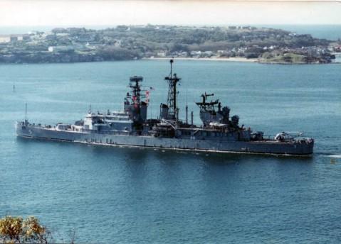 Port quarter view, underway in Sydney Harbor, Austrailia, late 1970s Barry A. Seward via navsource