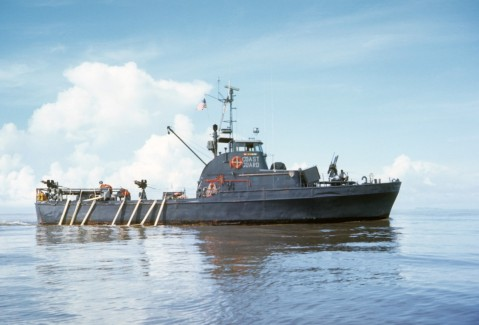Profile view of Point Cypress showing 50-caliber machine guns mounted on the fantail and amidships with 81mm mortar/50-caliber combination mounted on the bow. Photo courtesy of Gordon M. Gillies.