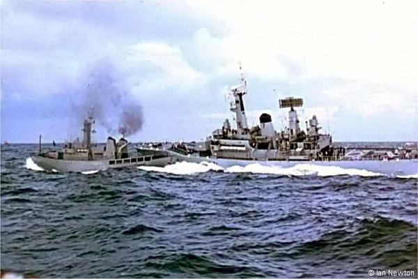 RN Frigate HMS Scylla rams ICG guboat Odinn. (Credit-Ian-Newton)