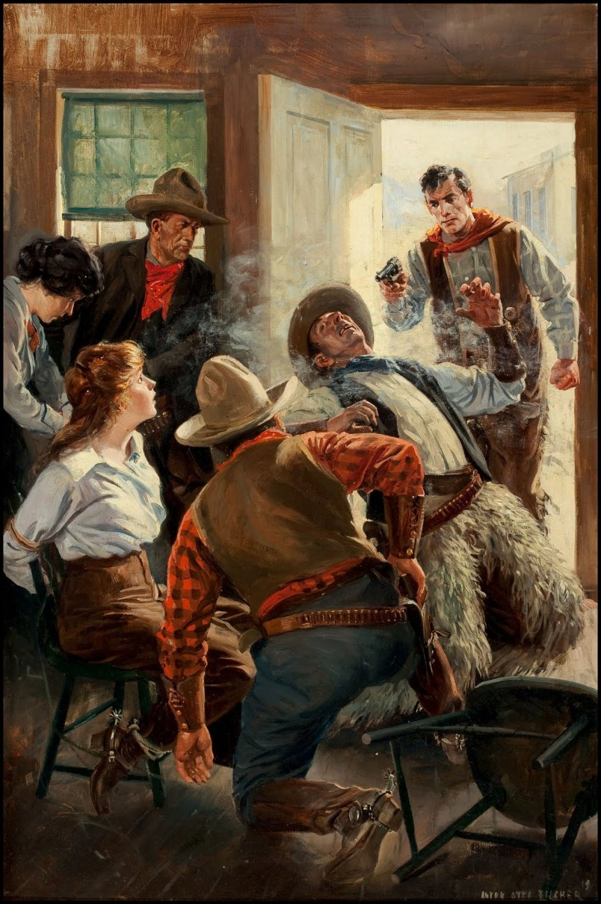 Saloon Shootout by Anton Otto Fischer, 1919. Note the surprised expression on the Tomato's face...priceless