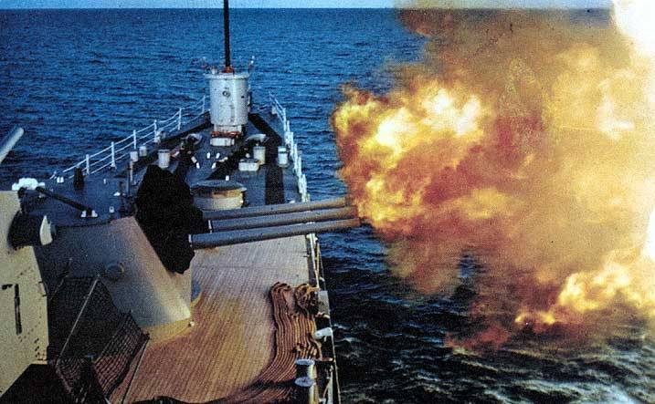 Six inch 47 caliber guns in action, date unknown photo by Craig Chaddock