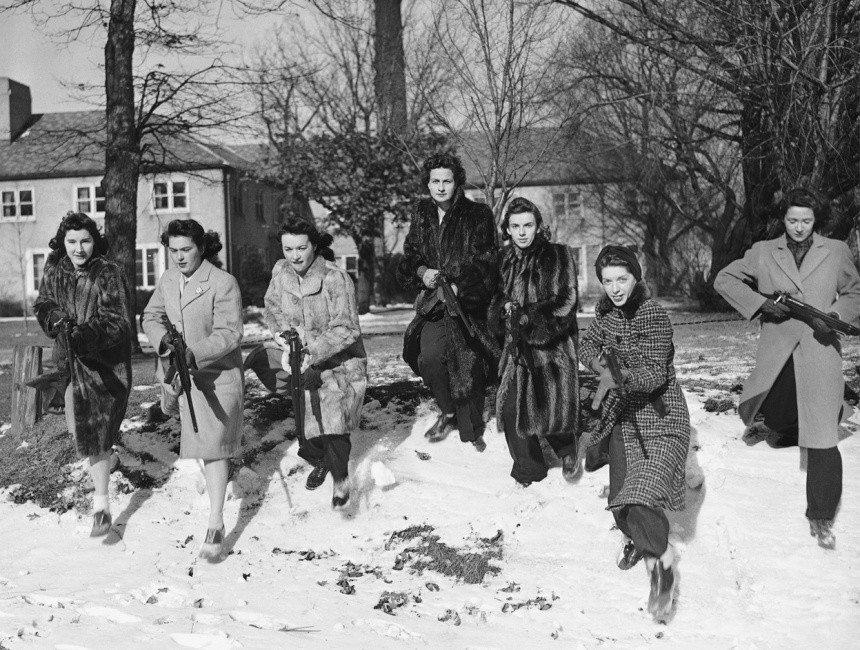 These Northwestern University girls brave freezing weather to go through a Home Guard rifle drill with Springfield Model 1903 Style T Target Rifles