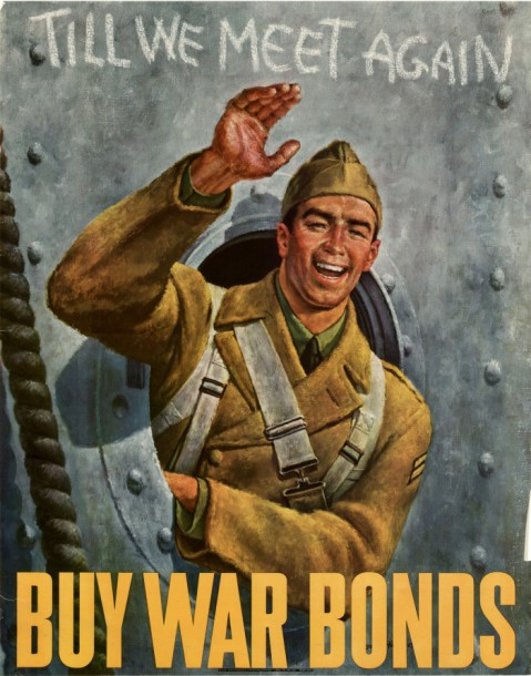 """Till We Meet Again."" Early war bonds poster done by Hirsch before his war correspondent hitch."