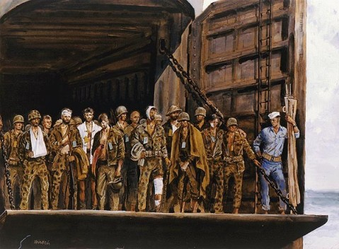 """Latest Mode"" Joseph Hirsch. Watercolor and tempera drawing, circa 1943 Gift of Abbott Laboratories 88-159-EZ Caption: These ambulatory wounded, all Marine raiders, wait on the lowered platform of an LST as it approaches Lunga Beach at Guadalcanal. The green tags indicate the specific injuries and the front line treatment administered. This particular group is returning from Rendova. US Navy Art Collection"