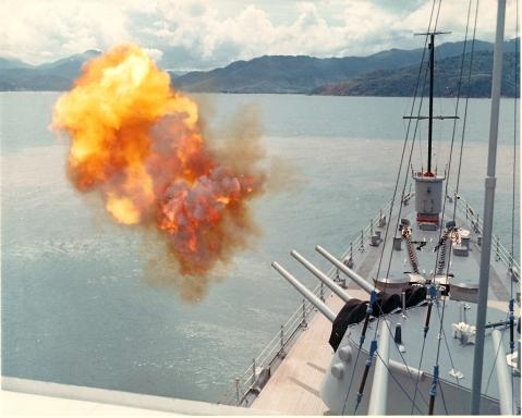 USS Oklahoma City 6 Inch Guns firing. Photo From Okie Boat.com