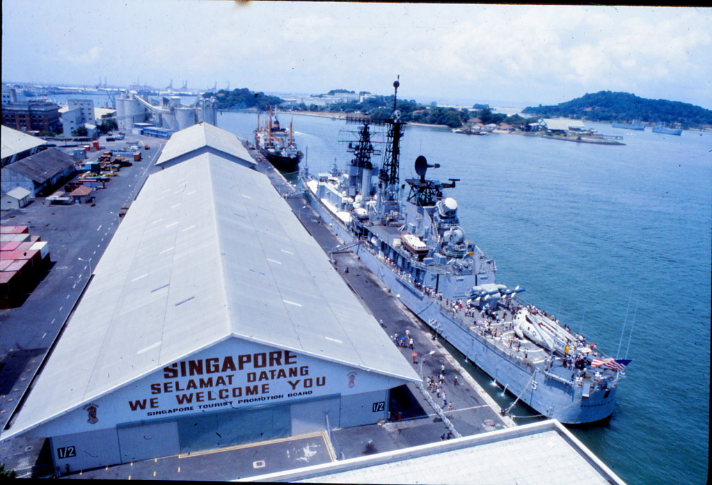 USS Oklahoma City CG-5 visiting Singapore in 1979. The old girl was the ultimate flag-waver around the Western Pacific from 1960-79