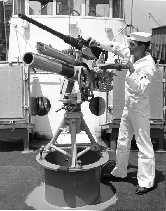 A closer look at the 81/.50 mount as emplaced on a Vietnam-bound Point. Note the ready ammo boxes installed.