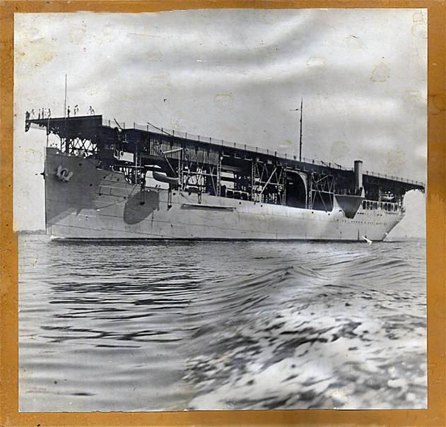 "USS Langley (CV-1) early in her career (note single stack to port). Photo is stamped on back: ""Chief of Information. Navy Department. Washington, 25 D.C."" Photo by Jim Bulebush via Navsource"