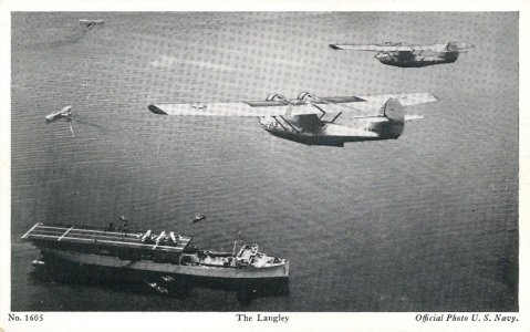 USS Langley (AV-3) at anchor in 1937, near NAS Coco Solo Panama. The aircraft over flying Langley are Consolidated PBY-2s from Patrol Squadron Two (VP-2). US Navy photo via Navsource