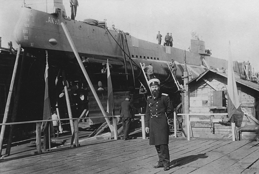 Naval architect Ivan Grigoryevich Bubnov. The sub in the background was his one-off Akula