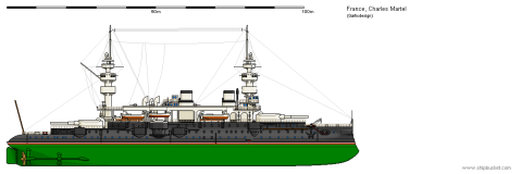 Charles Martel class line drawing as commissioned. Image from Shipbucket