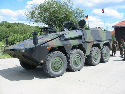 The very Stryker-ish German GTK Boxer. The Heer is buying 250~ of these to replace the vintage Fuchs APCs. Hopefully, they will come standard with machine guns.