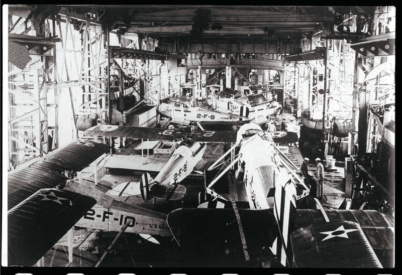 Inside the hangar of USS Langley, CV-1