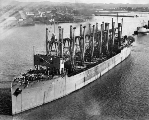 USS Jupiter in the Mare Island Channel, 7 April 1913 (Commissioning Day). The collier USS Saturn is aft of Jupiter Navy Yard Mare Island photo # AC 3 001-4-13 via Navsource