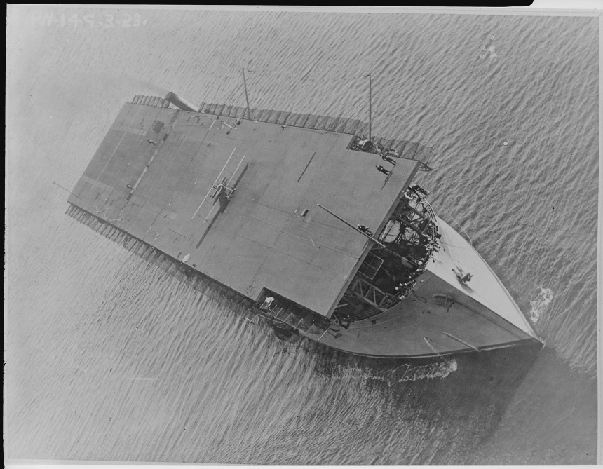 An image taken from a departing biplane, Aug 03, 1923 of the U.S. Navy's first aircraft carrier. NARA Photo 520639