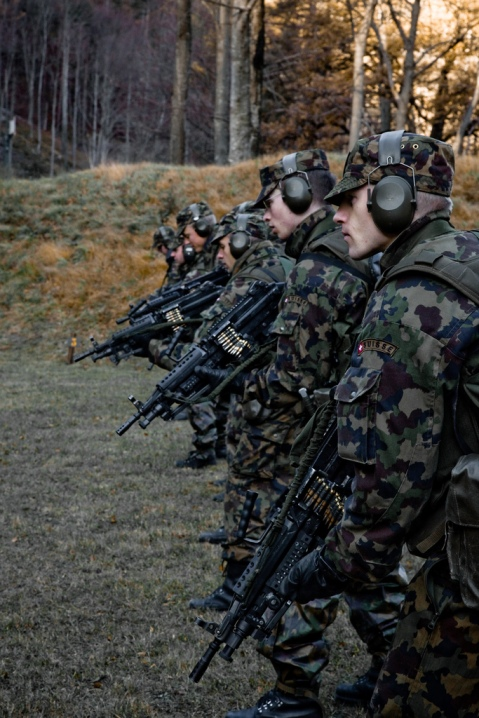 Swiss Soldiers from the Gebirgs Infantry Battalion 85' training with the Light Machine Gun 05 (FN Minimi). All members of the Papal Swiss Guard are drawn from volunteers who have a clean service record with the Swiss Army