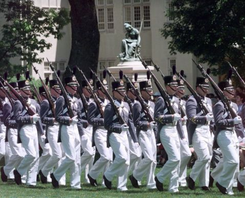 """VMI cadets marching past Ezekiel's """"Virginia Mourning Her Dead"""" (1903), Virginia Military Institute, Lexington, Virginia. He attended the dedication of this statute, which includes the graves of eight cadets killed at New Market to include his friend, Thomas Jefferson Garfield. He said at the time that, """"something arose like a stone in my throat, and fell to my heart, slashing tears to my eyes"""" upon seeing the cadets on the field again.  http://www.civilwar.org/education/history/biographies/moses-ezekiel.html"""