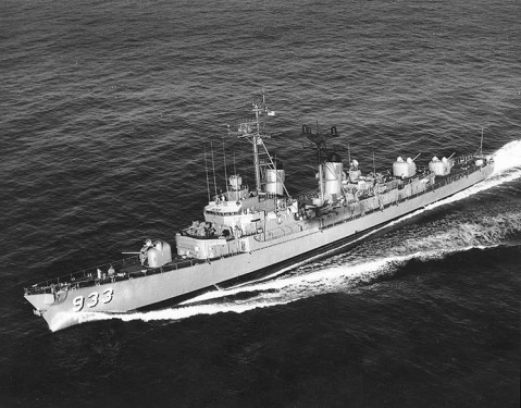 USS Barry (DD-933) Underway, circa 1960, after she had been refitted with a bow-mounted sonar. Official U.S. Navy Photograph, from the collections of the Naval Historical Center.