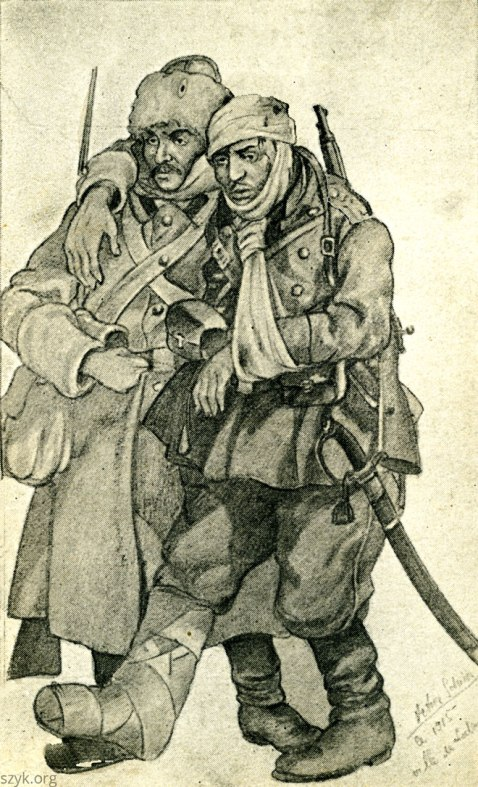 Wounded Russian soldiers. Lodz itself lost some 40 percent of its population in the war while the Russian Army threw away one million soldiers in an effort to keep Poland in the Empire in 1915.