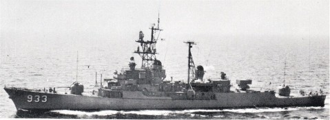 USS Barry (DD-933) at sea after completion of her conversion to ASW configuration, location unknown. United States Navy, Official. Note the 5-inch mount replaced by the ASROC box.