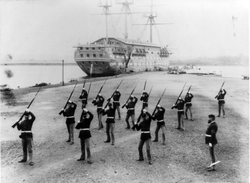 Bayonet drill 1898. Note the very Civil War style dress of the pre-Span Am War New York Naval Militia. At the time it was cheap surplus and Bannerman's downtown sold it by the pound.