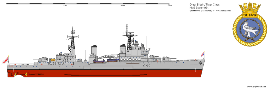 Blake, 1961. Note the different armament scheme than the original as above. Photo via shipbucket