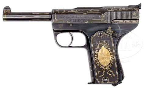 DANISH M1906 SCHOUBOE, FIRST VARIATION, GOLD INLAID, PRESENTATION TO PRESIDENT OF URUGUAY. http://jamesdjulia.com/item/2225-373/