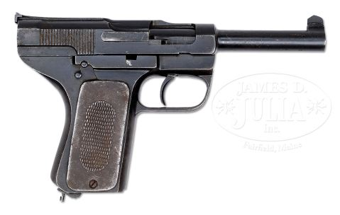 DANISH M1906 SCHOUBOE, FIRST VARIATION, METAL GRIPS. http://jamesdjulia.com/item/2226-373/